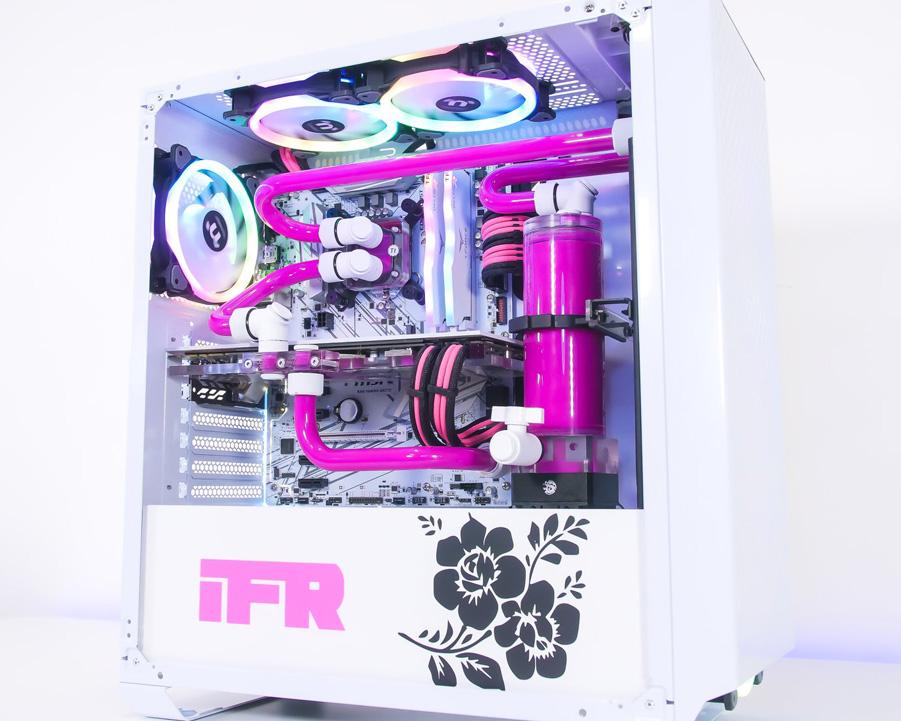 女性专属 Tt水冷 纯净粉色水路、纯白机箱水冷主机MOD图片