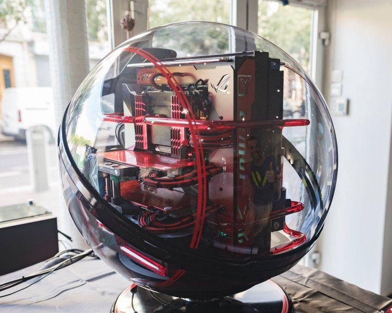 限量版球形水冷 迎广InWin WINBOT红黑水冷机箱MOD图片